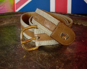 a86f1b254d8 Ultra Rare Vintage Authentic GUCCI Brown Ivory Webbing GG Monogram Leather  Statement BELT Wardrobe Couture Unisex Personal Accessory 30-32