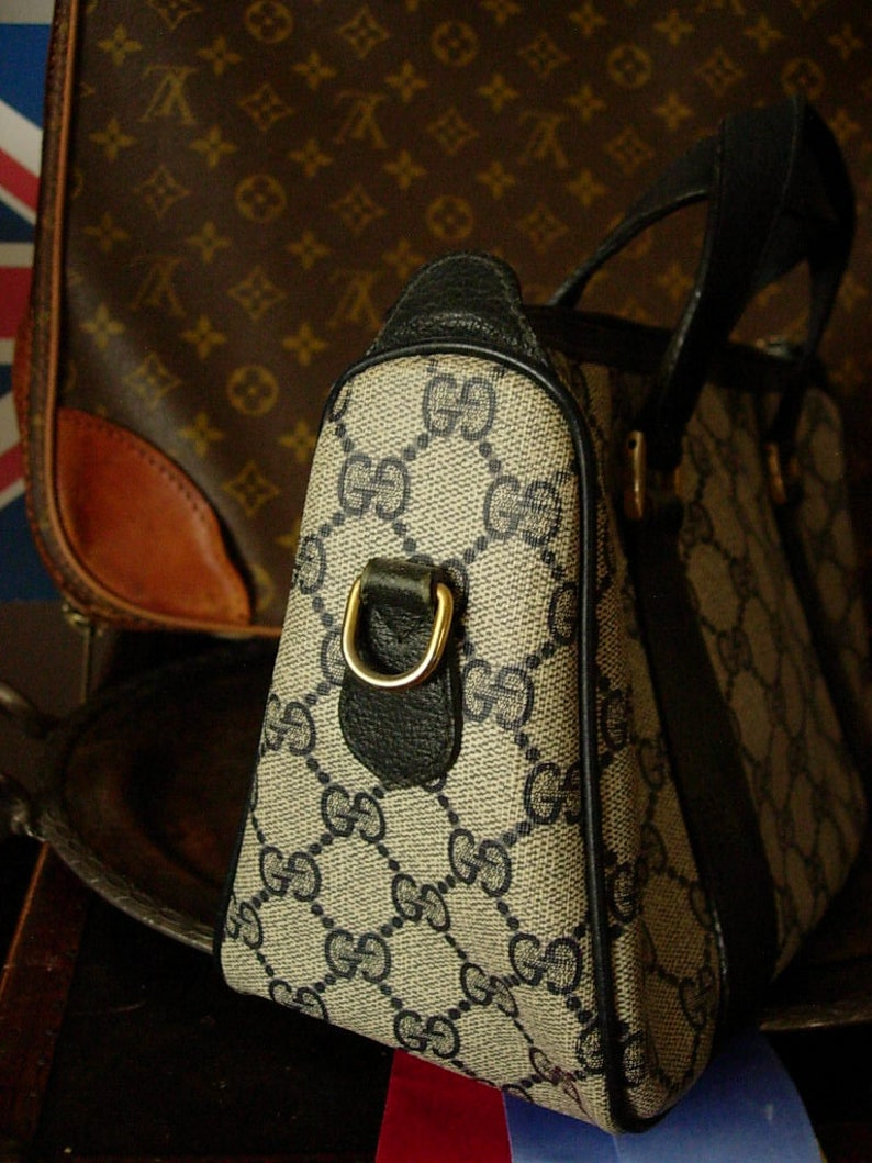 06d5974aa Pretty RARE Vintage Navy GG Monogram Leather GUCCI Speedy | Etsy
