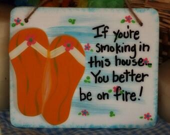 Flip Flop No Smoking Soliciting Skinny Dip Chunky Dunk Tropical Decor Sign