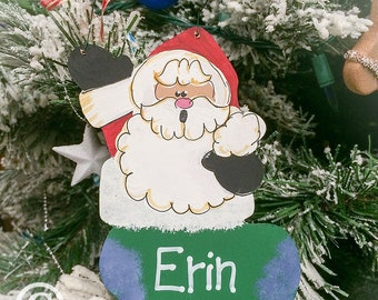 584f4e554a141 Farmhouse Christmas Ornament Personalized Santa Ornament Farmhouse Santa  Ornament for Child Old World Santa Claus Christmas Door Hanger
