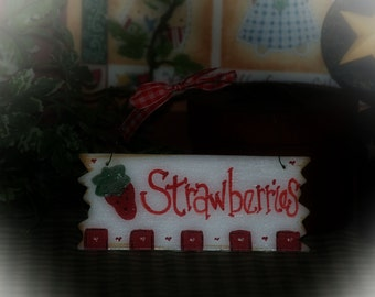 Strawberries Country Kitchen Sign strawberry wall hanging prim decor