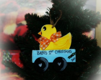 Personalized Christmas Ornament Babys First Christmas Duck Wagon Name