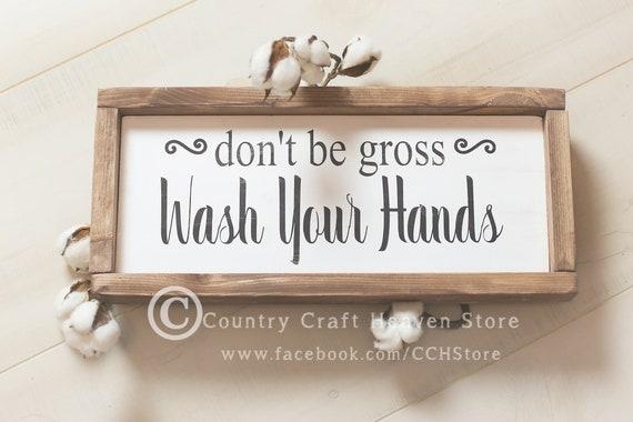 Farmhouse Bathroom Decor Rustic Bathroom Decor Wash Your Etsy