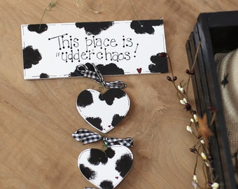 COWS Country Kitchen Udder Chaos Cow Wall Sign Farm Decor Whimsical