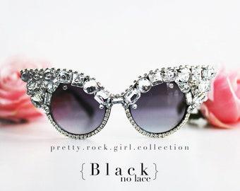 bb9dc6effbe Vintage Classic Retro Cateye Sunglasses with Encrusted Rhinestones