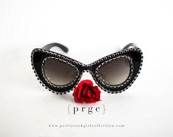 Black Oversized Cat eye Sunglasses Made with Swarovski Crystals, Mod sunglasses, Black statement sunglasses, Cat Eye Sunglasses