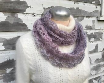 Lilac Infinity Scarf | Silk Kid Mohair Ombre Yarn | Hand Crocheted