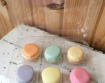 Six (6) Macaron Boxes . Clear Plastic Clamshell Treat Box Containers