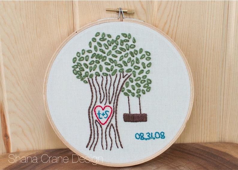 Heart Tree . Custom Embroidery Hoop image 0