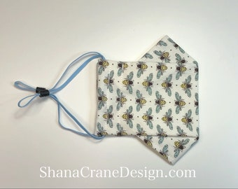 Adult Cotton Adjustable Face Mask . Busy Bees Pattern
