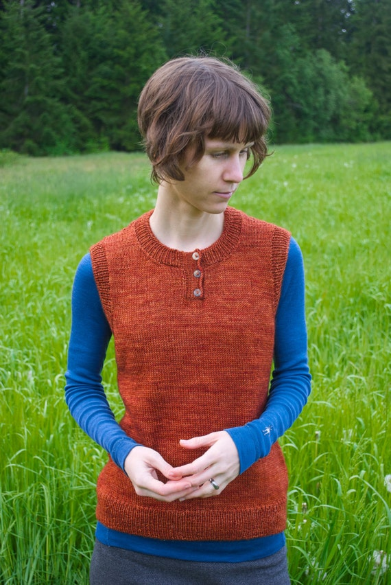 Kust Simple Henley Pullover Vest Knitting Pattern Etsy