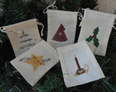 Primitive Mini Cloth Bags Hand Painted Christmas Pot-pourri Gift Card Candy Trinket Bags