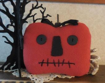 Primitive Handmade HALLOWEEN Jack-o-Lantern Orange Wool Pillow Tuck Holiday Decor