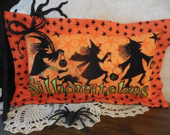 Reversible Primitive Halloween Pillow Tuck Dancing Silhowitches Black Cat Stars