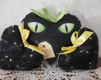 Halloween Black Cat Green Eyes Bowl Filler Hearts Yellow Eyes Tier Tray Decor