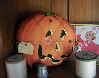 Primitive Halloween JacK-O-Lantern Pin Keep Ornament Pin Cushion Tier Tray Decor