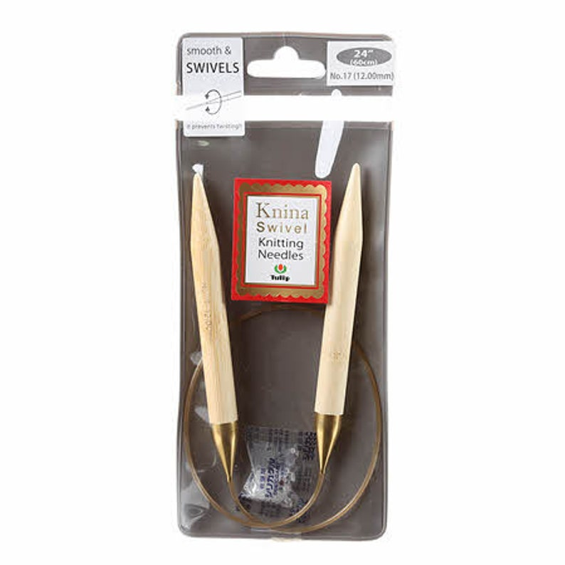 One Set of Knina Swivel Knitting Needles 24in 60Cm No 17 12.00mm # KKMM-601200 From Tulip Company Limited