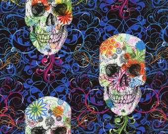 Timeless Treasures Flourish Skull Fun-C2108-Multi - One-yard Cut