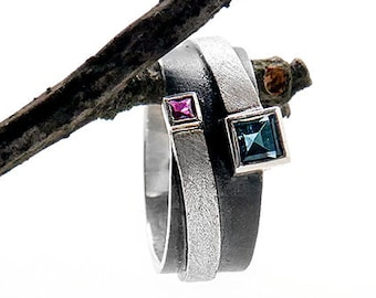 square ruby ring topaz engagement ring oxidized sterling silver ring topaz London ring wide gem band gift for her square topaz ring