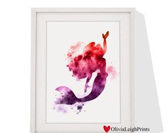 Disney Princess Ariel Word Art Quote Watercolour Print Wall Gift Nursery