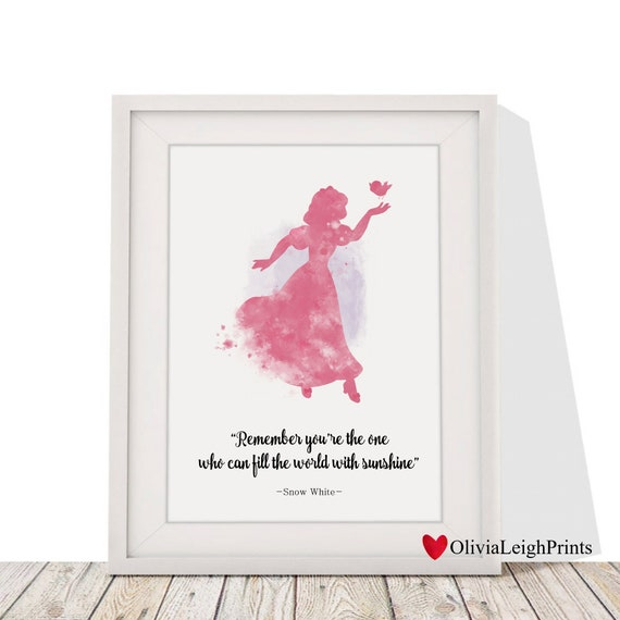 Princess Wall Art Gift Nursery ART PRINT Snow White Quote illustration Disney