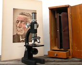 Vintage Microscope Set by Mark II with tools and slides in original Wooden Box
