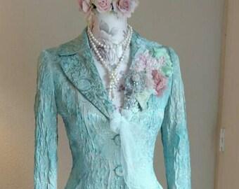 BLAZER JACKET TOP, Wedding Jacket, Victorian Inspired, Ann Taylor, Aquamarine, Altered Couture, Shabby Chic, Promenade, Gorgeous!