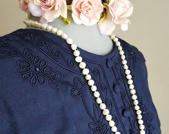 LONG DRESS Navy Blue, Vintage 80's Size 10 Karin Stevens, Soutache Trim Blue Pearls, Damask Style Fabric, Dressy, Beautiful!