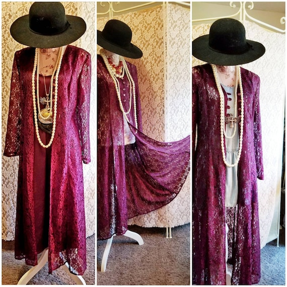 Bohemian, Hippie, Lace Duster, Dress, 70s 80s Vibe