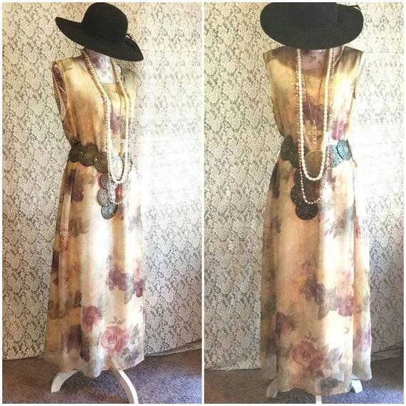 Chiffon Vintage Dress, 80's 90's, Maxi, Long, Retr