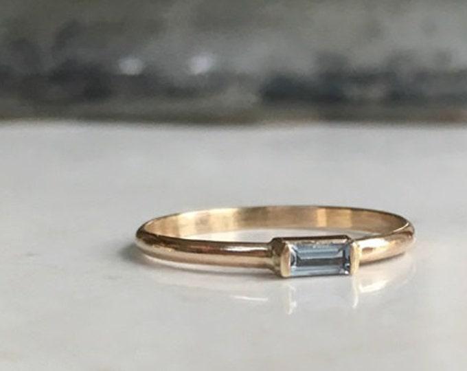 Aquamarine Baguette, Genuine aquamarine, 14k gold, gold filled