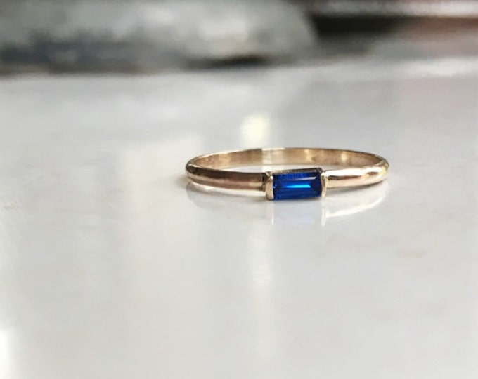 Genuine Sapphire Baguette Ring, Blue sapphire, 14K gold, gold filled