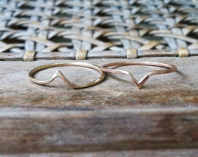 Hammered Chevron Ring, 14k gold filled, stack of 2