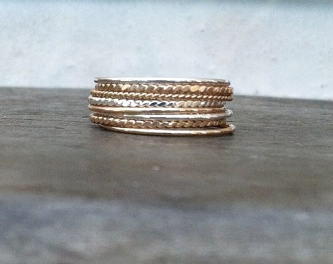 Rope Medley Stackable rings, 14k gold filled and silver mixed stack rings