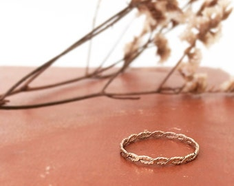 Gold Infinity, twist band. Wedding band, stacking ring. 14k solid gold, 14k gold filled, sterling