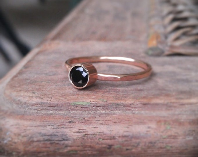 14k gold gemstone stack ring gold filled band, black spinel
