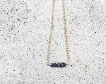 Rough Diamond Necklace, Black diamond, Raw diamond, raw stone, 14k gold filled, 14k gold, dainty necklace