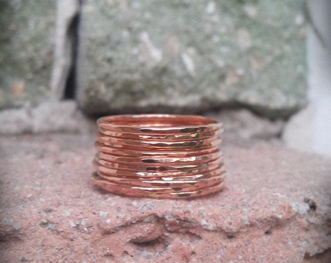 Hammered Stack Rings- 14k Rose gold filled- Set of 12 hammered rings
