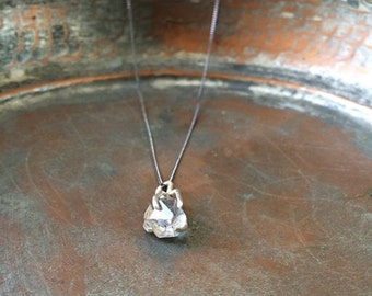 Genuine Herkimer Diamond Claw Necklace, Sterling silver