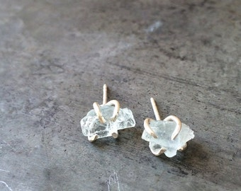 Raw Aquamarine Claw studs, Sterling Silver, Handcrafted