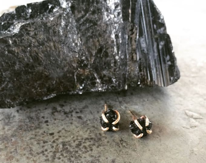 VALENTINES DAY, Black Tourmaline Claw Studs, 14k Gold filled