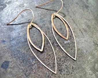 Long leaf earrings, Hammered, 14k gold filled and sterling silver, drop earrings, dangle earrings