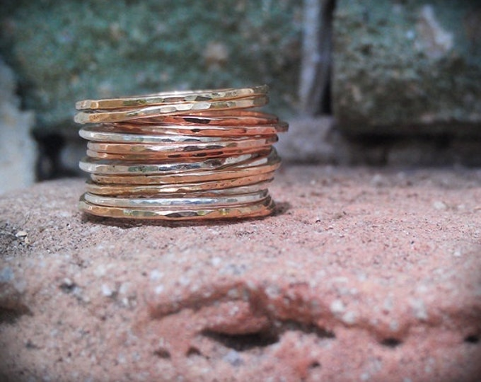 Stackable Rings- Mixed metals set of 12 hammered rings- rose gold, gold, and sterling silver