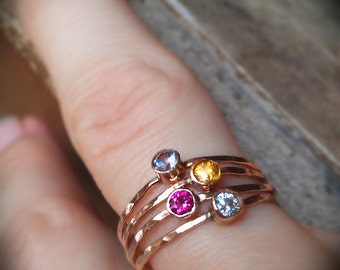 MOTHER'S DAY gift, Birthstone stacking rings with 14k gold set faceted gemstones set of four birthstones