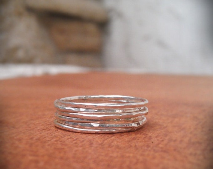 Stacking Rings- Sterling silver stackable hammered set of 6 rings