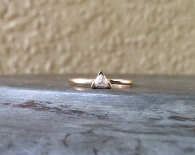 14K SOLID GOLD Triangle Ring, Bezel set Cubic Zirconia