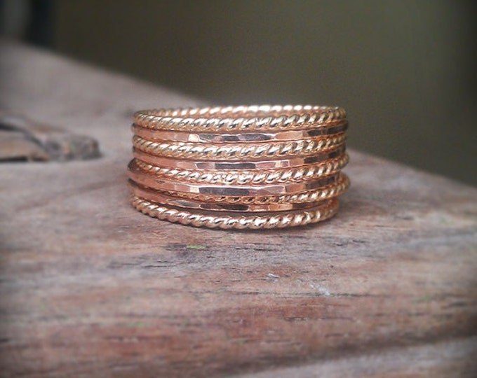 Stackable Rings, Twist and Hammered Set of 9, 14k gold filled