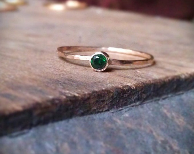 1 Hammered Birthstone Stacking Ring with 14k gold set faceted gemstone