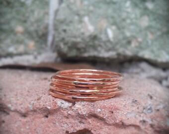 Hammered Stack Rings- Rose Gold Filled Set of 7 hammered rings