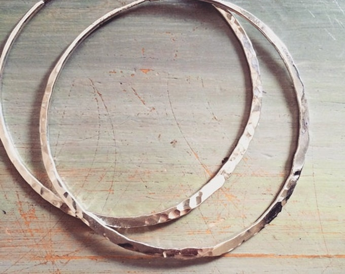 Large Sterling Silver, Hammered Hoops, Seamless